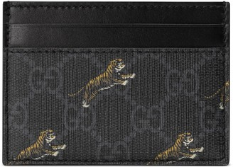 Gucci GG card case with tiger print
