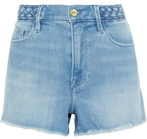Frame Le Cutoff Frayed Braided Denim Shorts