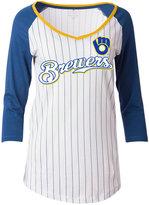 5th & Ocean Women's Milwaukee Brewers Pinstripe Glitter Raglan T-Shirt