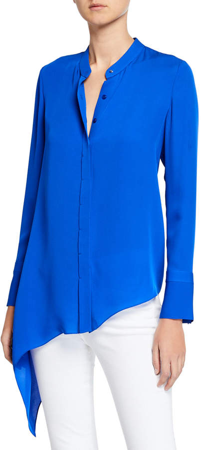 db5d4558f6ab1a Polyester Spandex Button Long Sleeve Top - ShopStyle