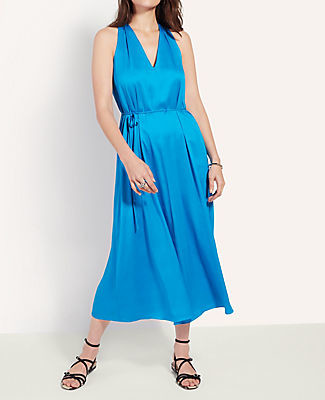 Ann Taylor Petite Tie Waist Halter Midi Dress