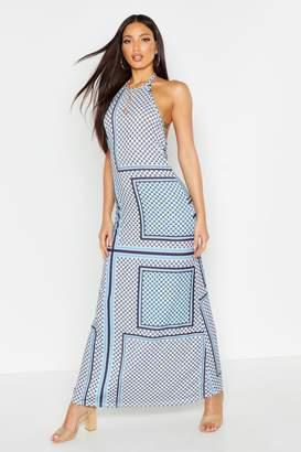 boohoo Tile Print Halterneck Maxi Dress