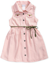 Sweet Heart Rose Embroidered Shirtdress, Toddler and Little Girls (2T-6X)