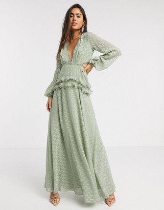 Asos DESIGN jacquard tiered maxi dress with lace trim detail in sage
