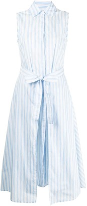 Rosetta Getty Striped Sleeveless Shirt Dress