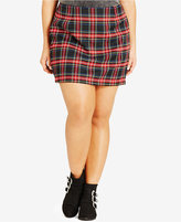 City Chic Plus Size Plaid Mini Skirt