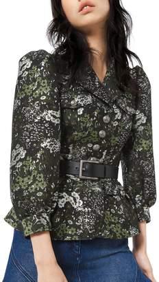 Michael Kors Floral Brocade Button-Front Admirals Jacket