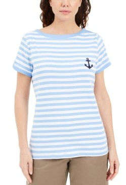 Karen Scott Striped Anchor Top, Created for Macy's
