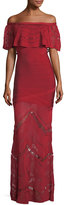 Herve Leger Off-the-Shoulder Bandage Evening Gown with Lace