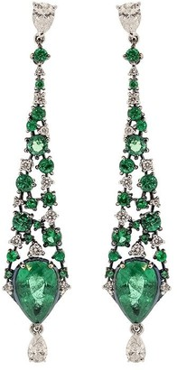 MARIANI 18kt White Gold Diamond Emerald Drop Earrings