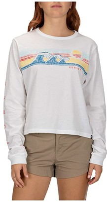 Hurley Retro Wave Perfect Long Sleeve Tee (White) Women's Clothing