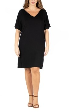 24seven Comfort Apparel Women's Plus Size V-neck Loose Fit Resort Dress