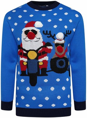 tbd Shulaa Women's Santa Reindeer Pom Pom Christmas Sweater Rudolph Xmas Pullover Jumper (SM (UK 8-10)