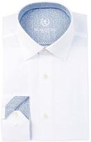 Bugatchi Solid Checkered Shaped Fit Dress Shirt