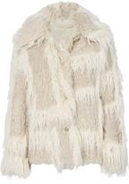 Helmut Lang Plaid Two-Tone Faux Fur Jacket Beige/Khaki P