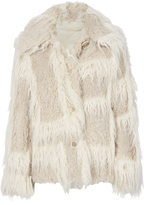 Helmut Lang Plaid Two-Tone Faux Fur Jacket