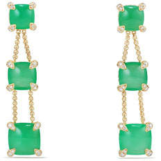 David Yurman Châtelaine Chain Drop Earrings with Chrysoprase & Diamonds