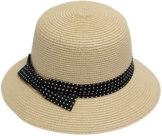 Octave Ladies Polka Dot Ribbon Round Top Dress Straw Hat - Summer/Beach Hat [Size M/L