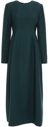 The Row Lorna Pleated Wool And Silk-blend Midi Dress