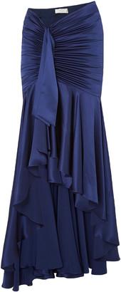 Caroline Constas Elise Ruched Draped Silk-satin Maxi Skirt