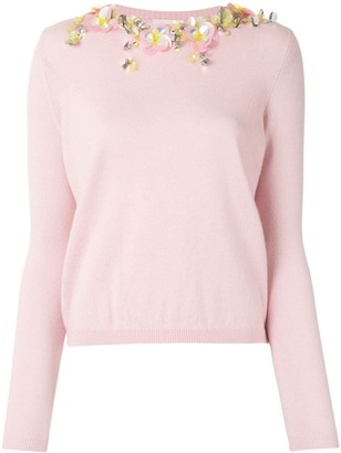DELPOZO Floral Applique Crew Neck Jumper