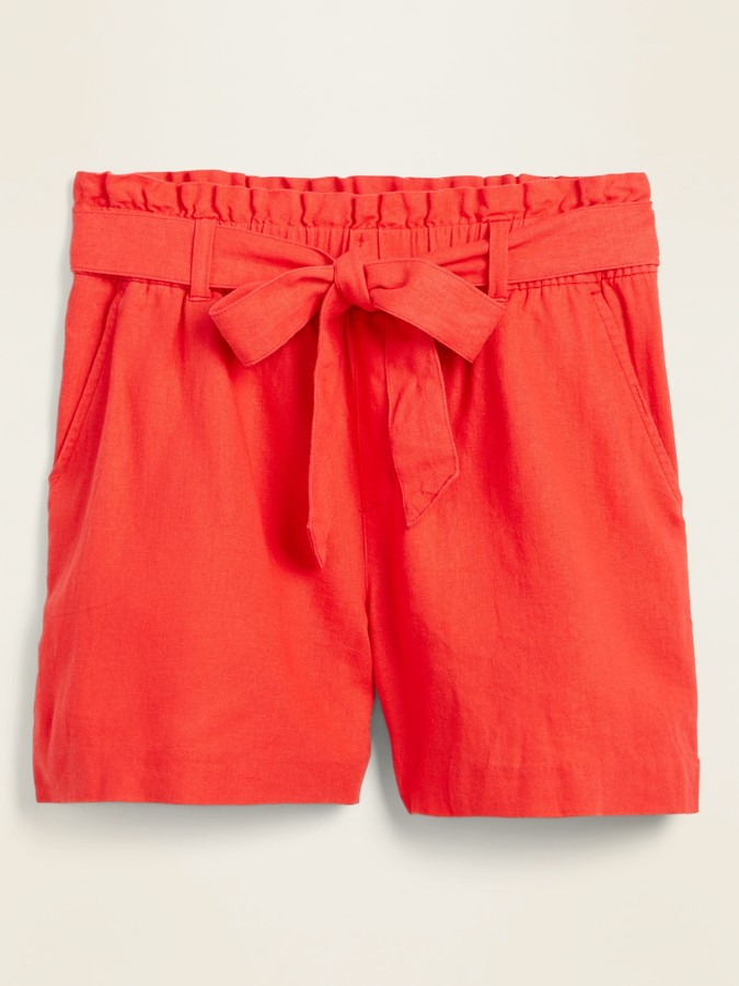 Old Navy High-Waisted Tie-Belt Linen-Blend Shorts for Women -- 4-inch inseam