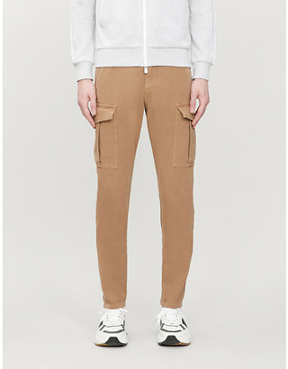 Eleventy Loose-fit tapered cotton-blend trousers