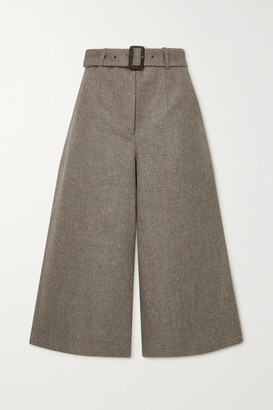 JAMES PURDEY & SONS Belted Cropped Herringbone Wool Culottes - Taupe
