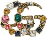 Gucci Gold and Multicolor Crystal GG Multi-Finger Ring