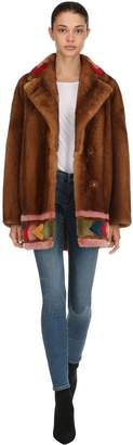 Blancha Mink Fur Coat W/ Multicolor Inserts