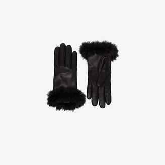 Agnelle black Boa alpaca trim leather gloves