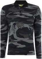 Versace Jeans Long Sleeve Camo Print Polo Shirt