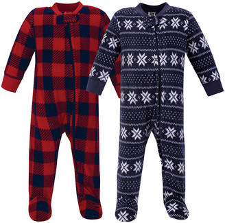 Hudson Baby Boys' Footies Sweater/Plaid - Red & Navy & Buffalo Check & Fair Isle Footie Set - Newborn