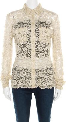 Dolce & Gabbana Beige Floral Lace Long Sleeve Blouse S