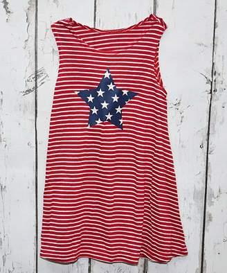 Beary Basics Girls' Casual Dresses RED - Red & Navy Stripe Star Sleeveless Tunic Dress - Toddler & Girls
