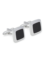 Oxford Cufflinks Silver/Black Square