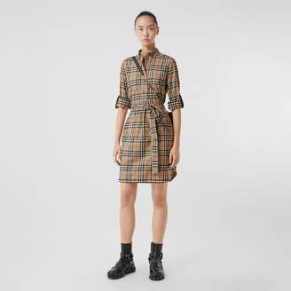 Burberry Vintage Check Stretch Cotton Tie-waist Shirt Dress