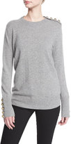 Burberry Button-Trim Crewneck Sweater, Dark Gray Melange