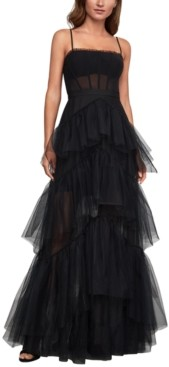 BCBGMAXAZRIA Embellished Tulle Gown