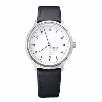 Mondaine Unisex MH1.R2210.LB Helvetica No1 Regular Analog Swiss Quartz Black Leather Watch