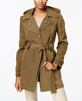 London Fog Hooded Water-Resistant Trench Coat