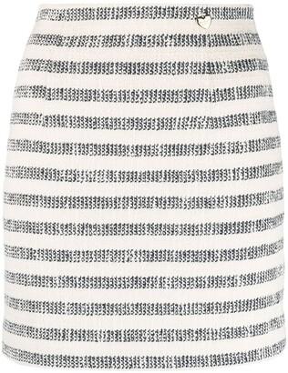 Twin-Set Striped High-Waist Skirt