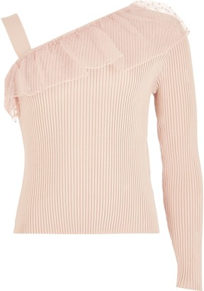River Island Girls Pink one frill shoulder knitted top