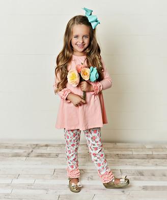 Adorable Sweetness Girls' Leggings Pink/White - Pink Ruffle Empire-Waist Tunic & White Floral Leggings - Girls