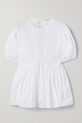 Cecilie Bahnsen Mie Embroidered Tulle-trimmed Cotton-poplin Blouse - White