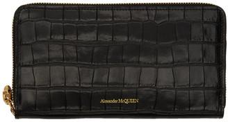 Alexander McQueen Black Croc Continental Zip Wallet
