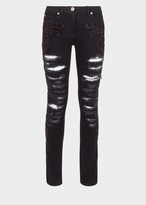 Versace Embroidered Baroque Ripped Jeans