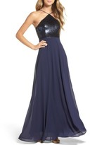 LuLu*s Women's Sequin Chiffon Gown