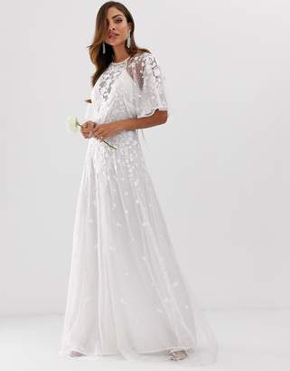Asos Edition EDITION wedding floral embroidered dobby mesh flutter sleeve maxi dress-White