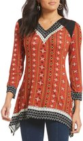 Multiples V-Neck Faux-Suede Accents Chain Print Tunic